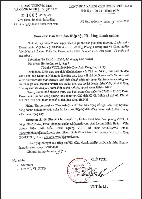 Thông báo mời tham dự chuỗi hoạt động kỷ niệm ngày Doanh nhân Việt Nam